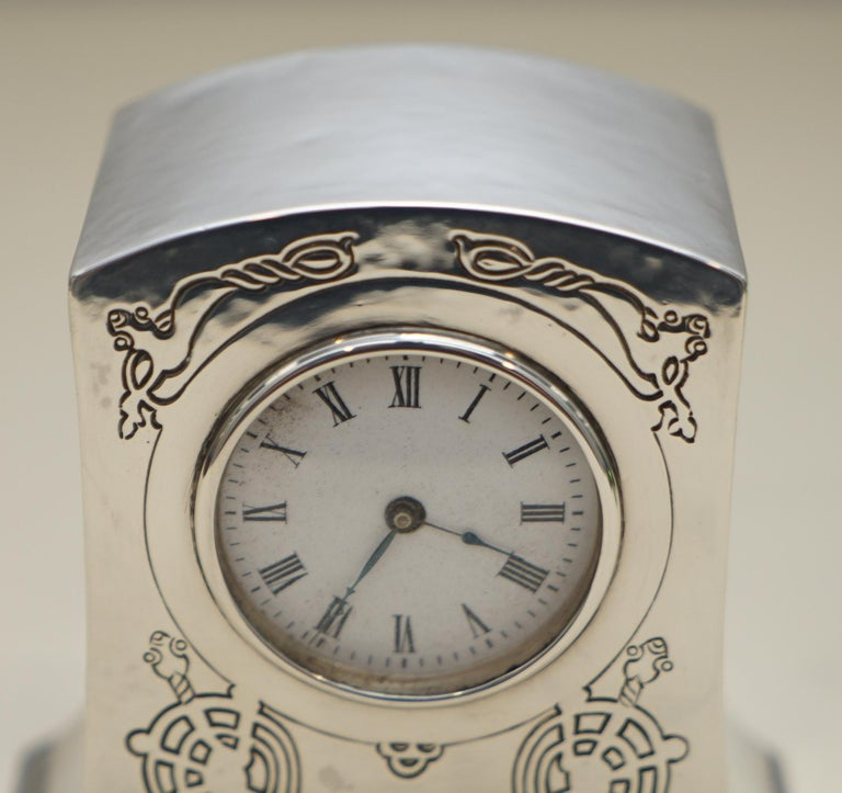 Hand-Crafted Solid Sterling Silver Liberty's London 1915 Miniature Carrage Clock Tudric Feel For Sale