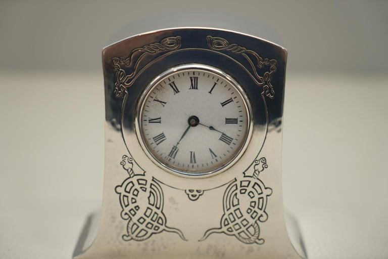Solid Sterling Silver Liberty's London 1915 Miniature Carrage Clock Tudric Feel In Good Condition For Sale In London, GB