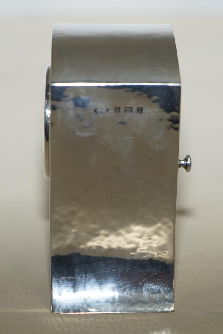 Early 20th Century Solid Sterling Silver Liberty's London 1915 Miniature Carrage Clock Tudric Feel For Sale