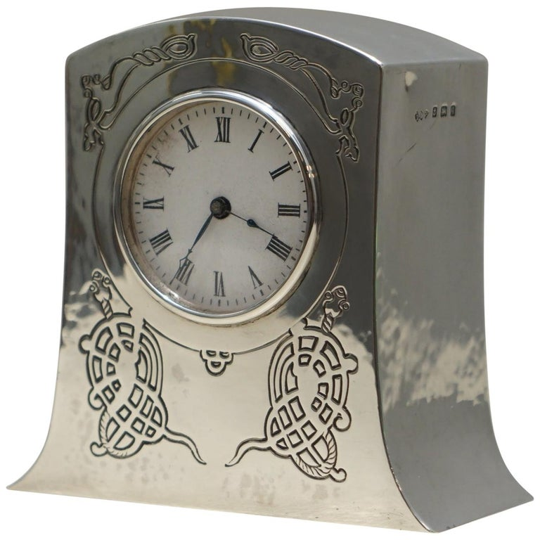 Solid Sterling Silver Liberty's London 1915 Miniature Carrage Clock Tudric Feel For Sale