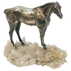 Solid Sterling Silver on Rock Crystal Geode Horse Stallion Figurine