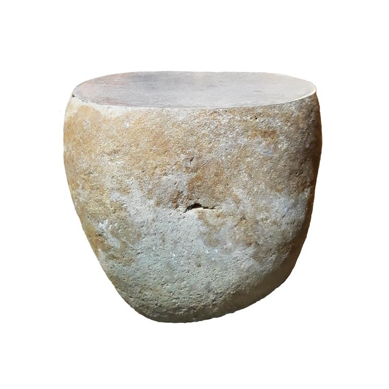 Indonesian Solid Stone End Table or Stool