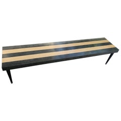 Solid Striped Wooden Bench and Brass Leg, 1980
