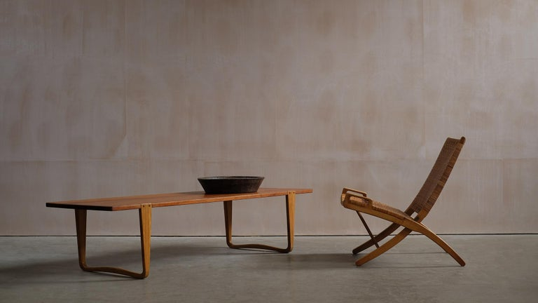 Solid teak and Ash Table / Bench by Michael Bloch For Sale 4