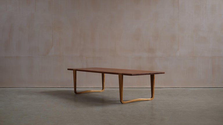 Scandinavian Modern Solid teak and Ash Table / Bench by Michael Bloch For Sale