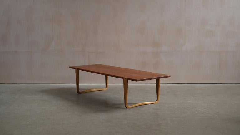 Danish Solid teak and Ash Table / Bench by Michael Bloch For Sale