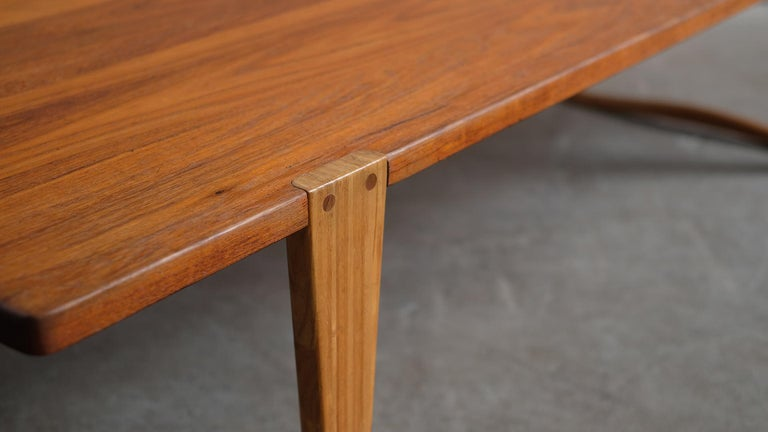 Solid teak and Ash Table / Bench by Michael Bloch For Sale 2