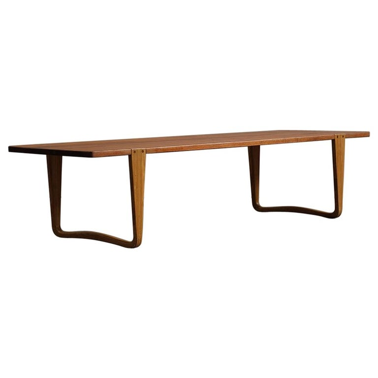 Solid teak and Ash Table / Bench by Michael Bloch For Sale