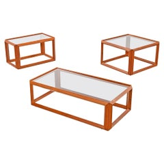 Solid Teak and Glass Cubist Architectural Living Room Coffee Table End Table Set