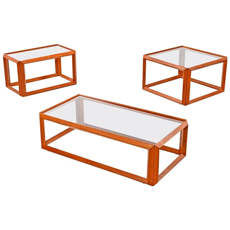 Solid Teak and Glass Cubist Architectural Living Room Coffee Table End Table Set For Sale
