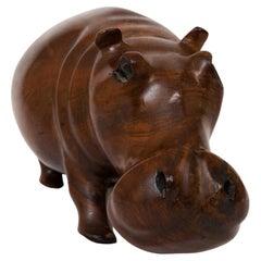 Solid Teak Carved Hippopotamus Sculpture c.1960
