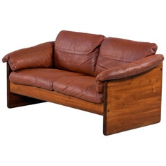 Solid Teak Danish Loveseat Sofa in Original Cognac Leather by Mikael Laursen