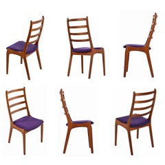 Solid Teak Danish Modern Kai Kristiansen High Back Ladder Back Dining Chairs