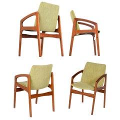 Solid Teak Danish Modern Kai Kristiansen Style Armchairs with New Green Fabric