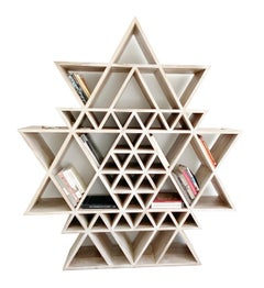 Geometric Fractal Bookshelf made of Solid Teakwood