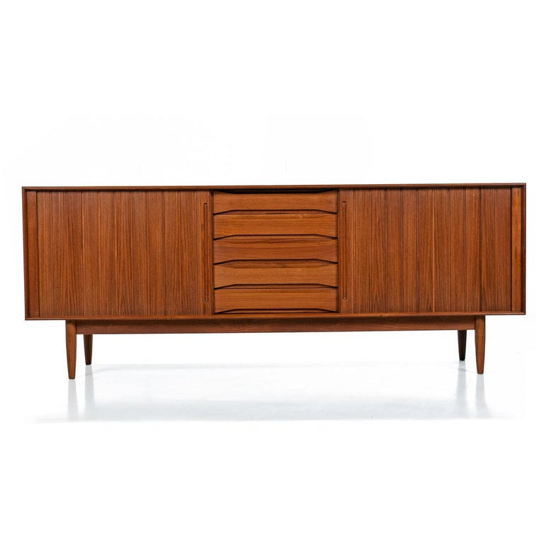Scandinavian Modern Solid Teak Johannes Aasbjerg Danish Modern Credenza with Tambour Doors
