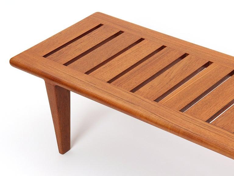 Scandinavian Modern 1950s Danish Solid Teak Slatted Bench by Hans J. Wegner for Johannes Hansen For Sale