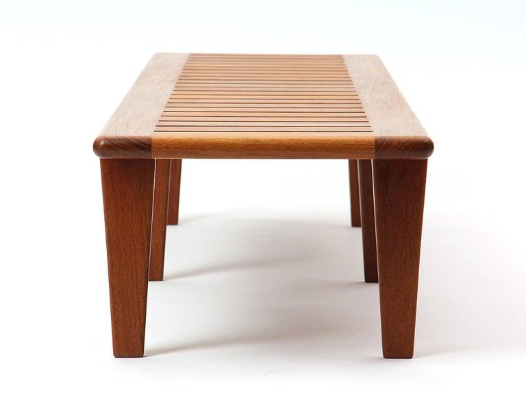American 1950s Danish Solid Teak Slatted Bench by Hans J. Wegner for Johannes Hansen For Sale