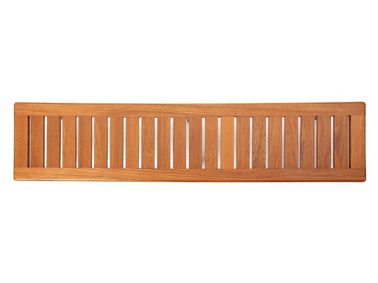 Mid-20th Century 1950s Danish Solid Teak Slatted Bench by Hans J. Wegner for Johannes Hansen For Sale