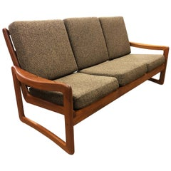Solid Teak Vintage Sun Cabinet Danish Modern Sofa Couch