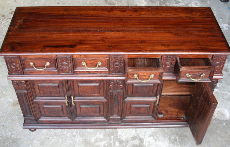Solid Teak Wood Early 20th Century Superbly Crafted French Colonial Credenza For Sale 5