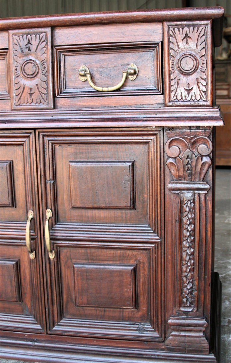Indian Solid Teak Wood Early 20th Century Superbly Crafted French Colonial Credenza For Sale