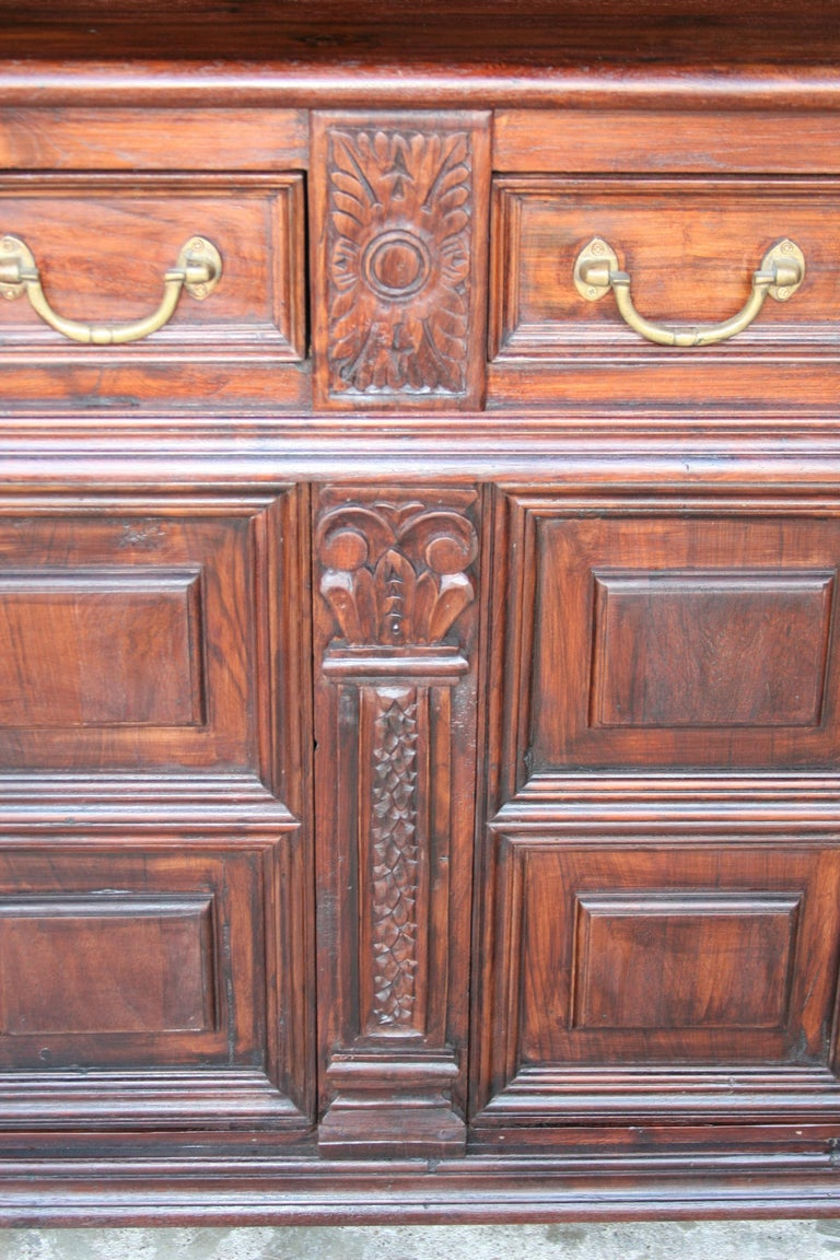 Solid Teak Wood Early 20th Century Superbly Crafted French Colonial Credenza For Sale 2