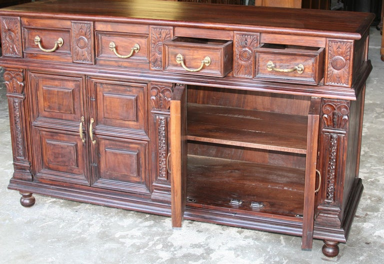 Solid Teak Wood Early 20th Century Superbly Crafted French Colonial Credenza For Sale 3