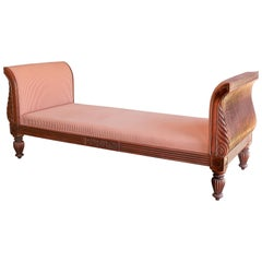 Solid Teak Wood Early 20th Century Upholstered Daybed from a Settler's Home