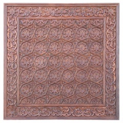 Solid Teak Wood Exquisitely Carved 1880s Ceiling from a Temple in Deccan