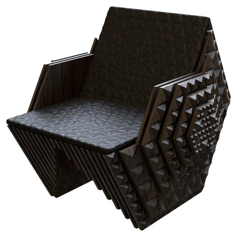 Hand-Carved Solid Teakwood Viking Throne by John Brevard For Sale