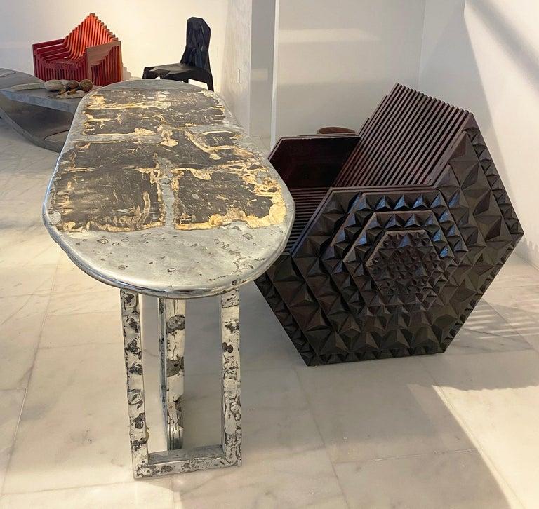 Solid Teakwood Viking Throne by John Brevard For Sale 1