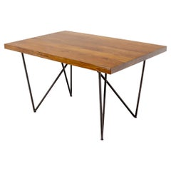 Solid Thick Teak Block Top Dining Table on Hairpin Legs