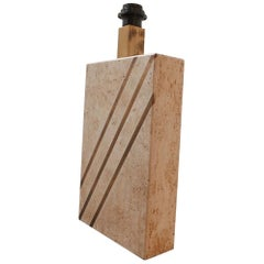 Solid Travertine and Brass Mid-Century Belgium Table Lamp