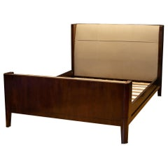 Solid Walnut and Leather Queen Bed Frame by Baker Furniture
