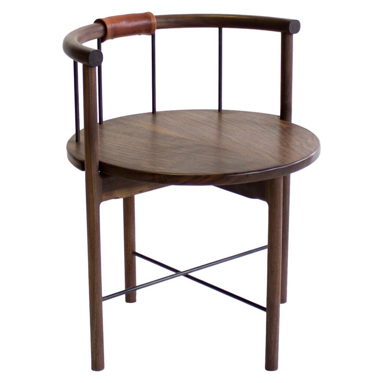 Solid Walnut Barrel-Backed Dining Chair with Brass or Bronze Rungs, Leather Grip For Sale