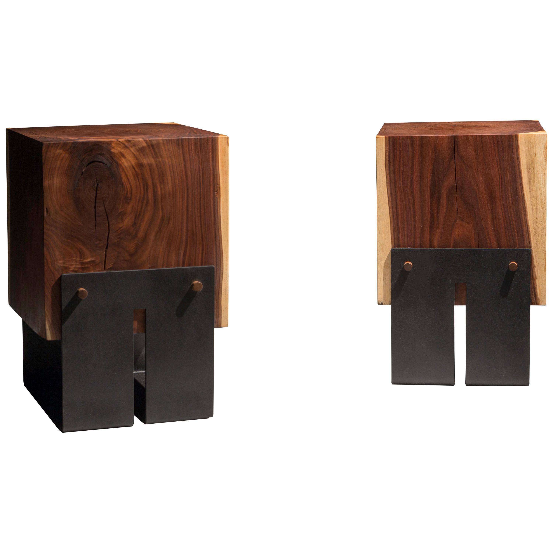 "Solid Walnut Block Side Table/Stool on Black Steel Base ""Briggs Side Table"""