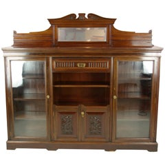 Solid Walnut Bookcase, Three-Door Bookcase, Victorian, Scotland 1890