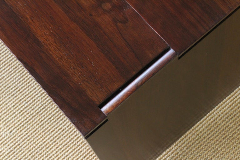 American Solid Walnut Convertible Table, 1970s, USA For Sale