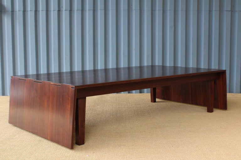 Solid Walnut Convertible Table, 1970s, USA For Sale 1
