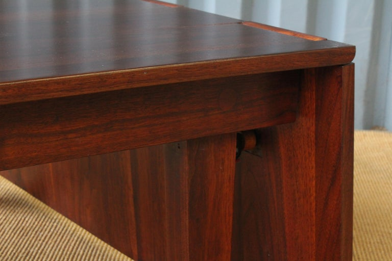 Solid Walnut Convertible Table, 1970s, USA For Sale 3