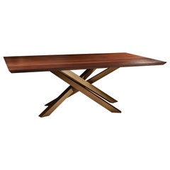 Solid Walnut Dining Table with Criss Cross Golden Metal Base