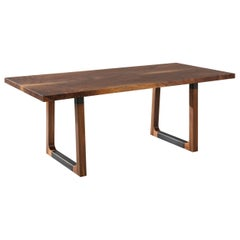 "Solid Walnut Dining Table with Walnut and Black Steel Legs ""Campau Dining Table"""