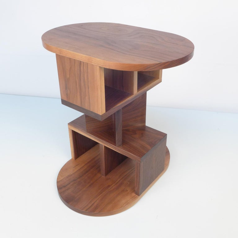 Post-Modern Solid Walnut Double Pyramid Side Table For Sale