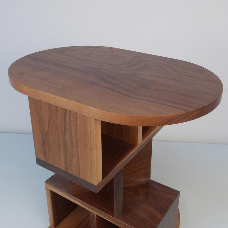 Dutch Solid Walnut Double Pyramid Side Table For Sale