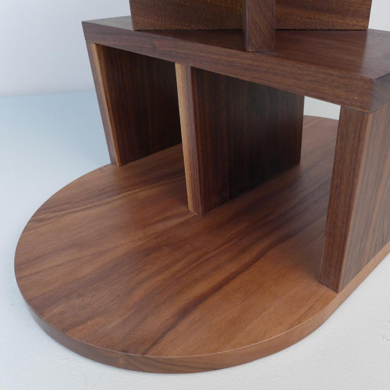 Contemporary Solid Walnut Double Pyramid Side Table For Sale