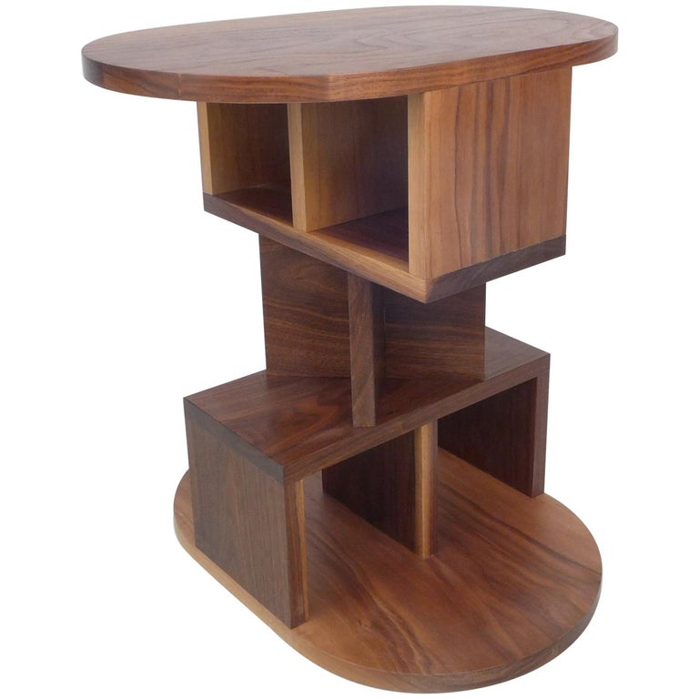 Solid Walnut Double Pyramid Side Table For Sale