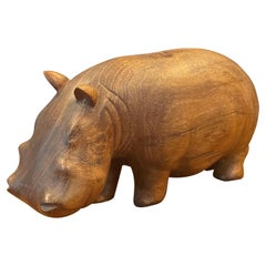 Solid Walnut Hand Carved Figural Hippopotamus Sculpture