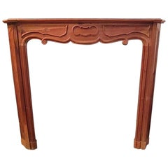 Solid Walnut Hand-Carved French Mantel