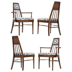 Solid Walnut Mid-Century Modern Chairs in Navy and Ivory Fabric
